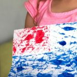 End Result - marble painting of the American flag
