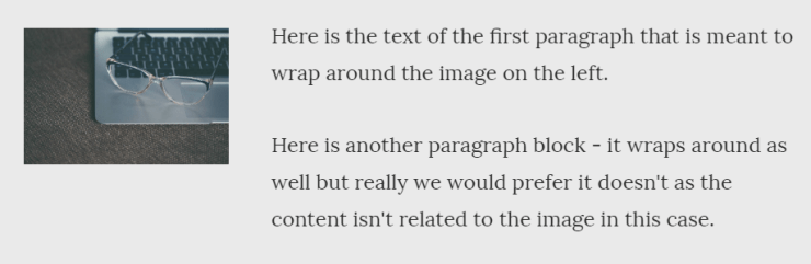 screen grab showing text from two paragraphs on the right wrapping around an image aligned left