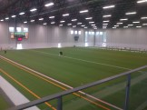 The soccer turf getting installed at Complexe Branchaud Briere