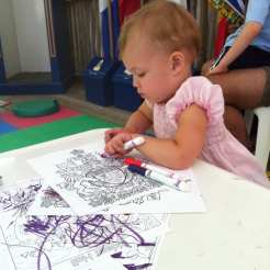 Busying colouring under the Reading Tent