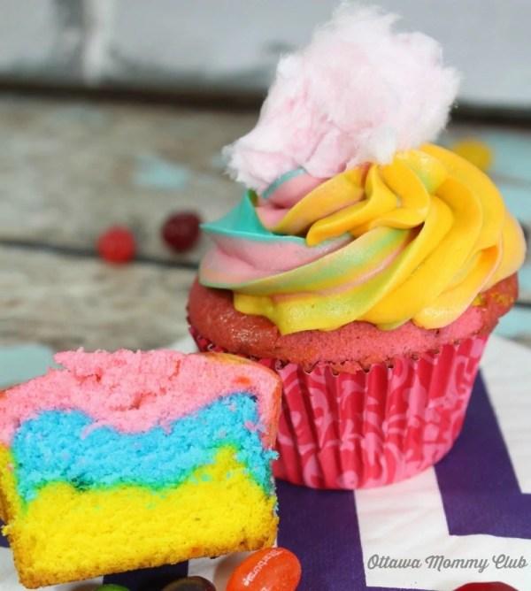 cotton candy cupcake