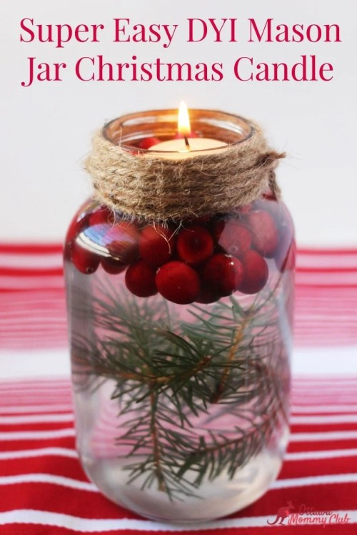 Super Easy Mason Jar Christmas Candle DIY