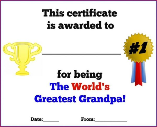 Father's Day Printable Certificates for Grandpa