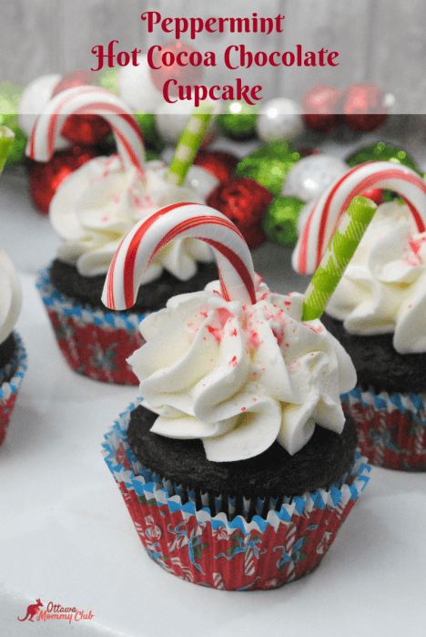 Peppermint Hot Cocoa Chocolate Cupcakes