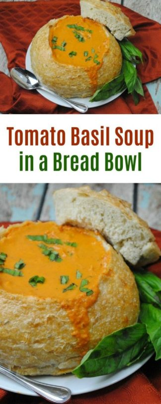 Tomato Basil Soup in a bread bowl
