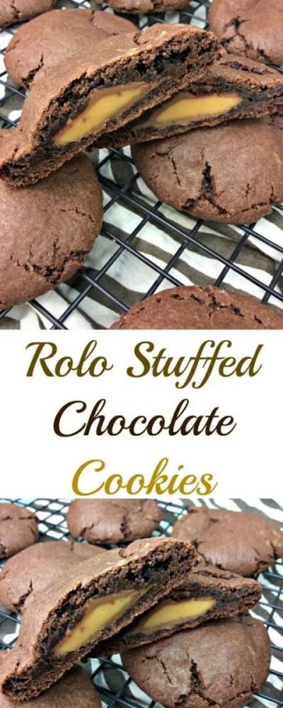 Rolo Stuffed Chocolate Cookies
