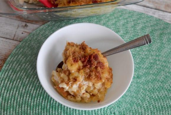 Turkey Ranch Mac-n-Cheese in a white bowl