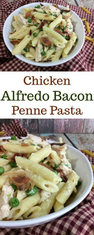 Super Easy Chicken Alfredo Bacon Penne Pasta Recipe