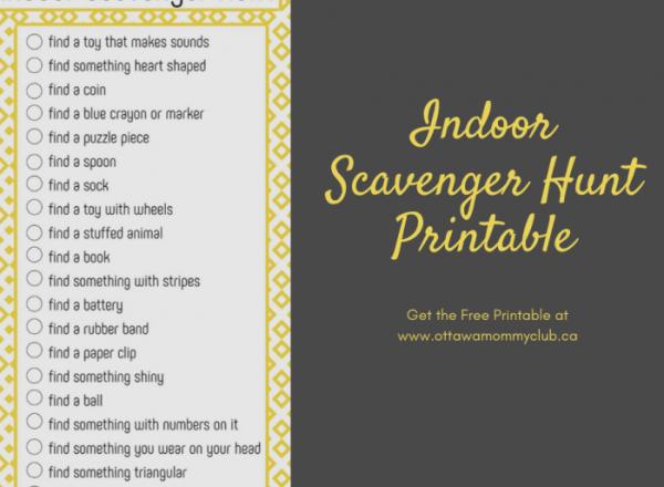 Indoor Scavenger Hunt Printable