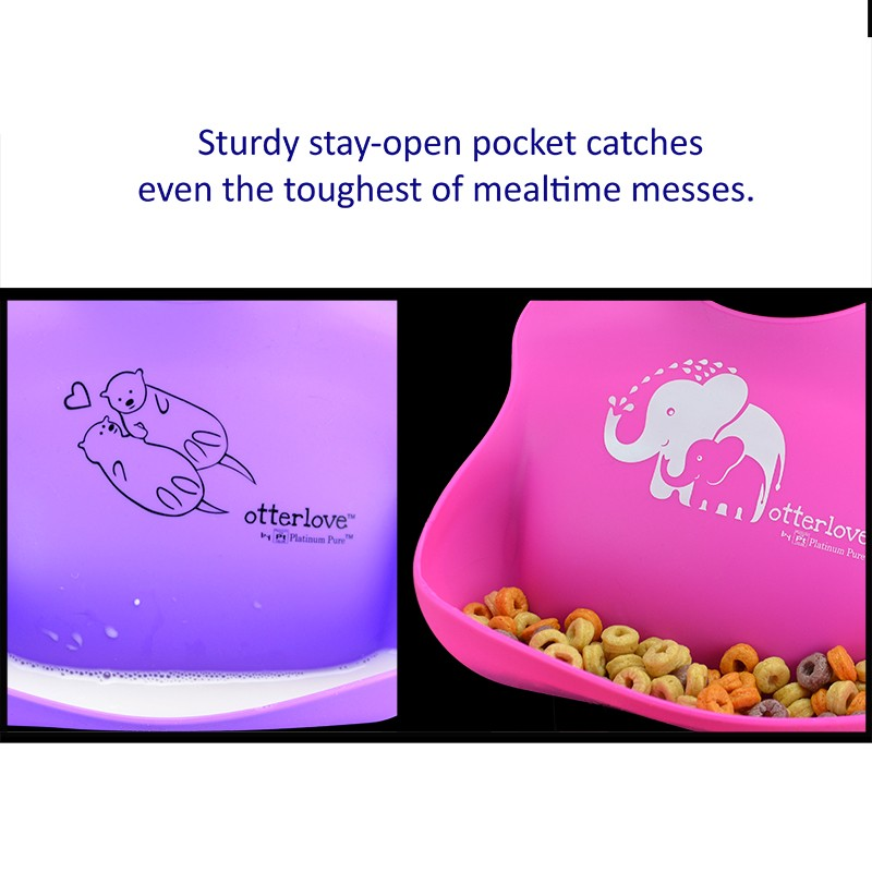 silicone bib stay-open pocket catches mealtime mess