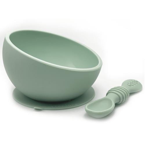 ergonomic silicone baby feeding bowl with suction base - Sage