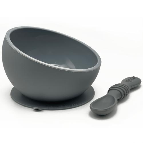 ergonomic silicone baby feeding bowl with suction base