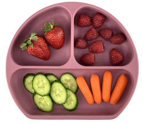 silicone baby food toddler divided plate with suction based and lid