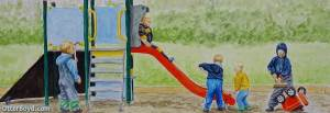 Otter Boyd Boys at Playground Painting