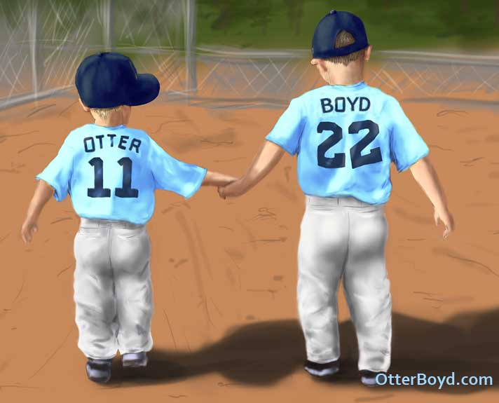 Painting of Little League Baseball Boys Holding Hands