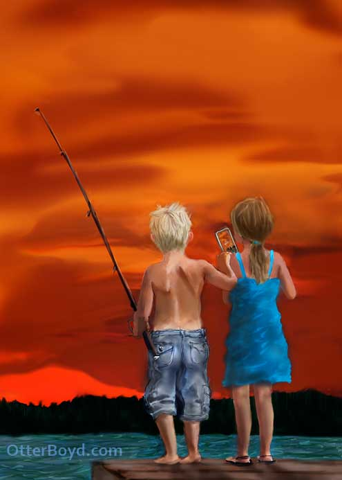 painting of fishing boy and girl on a dock at sunset