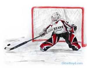 painting of ice hockey boy goalie