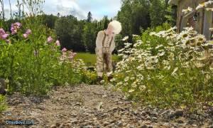 Otter Boyd on flowering garden path