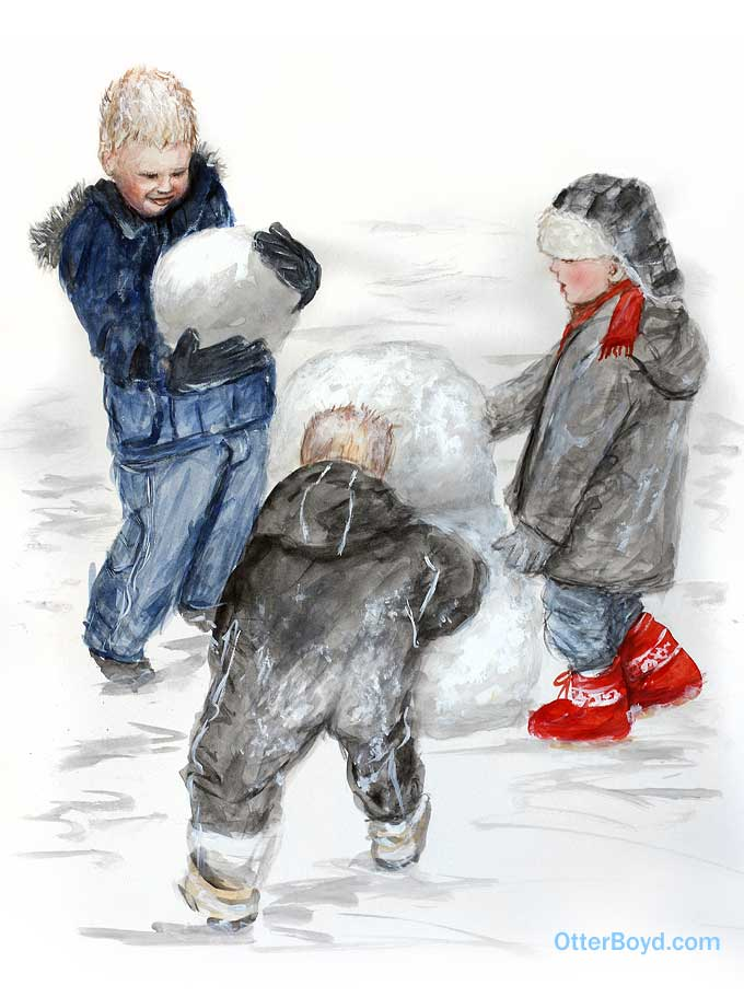 Painting of Boys Making a Snowman