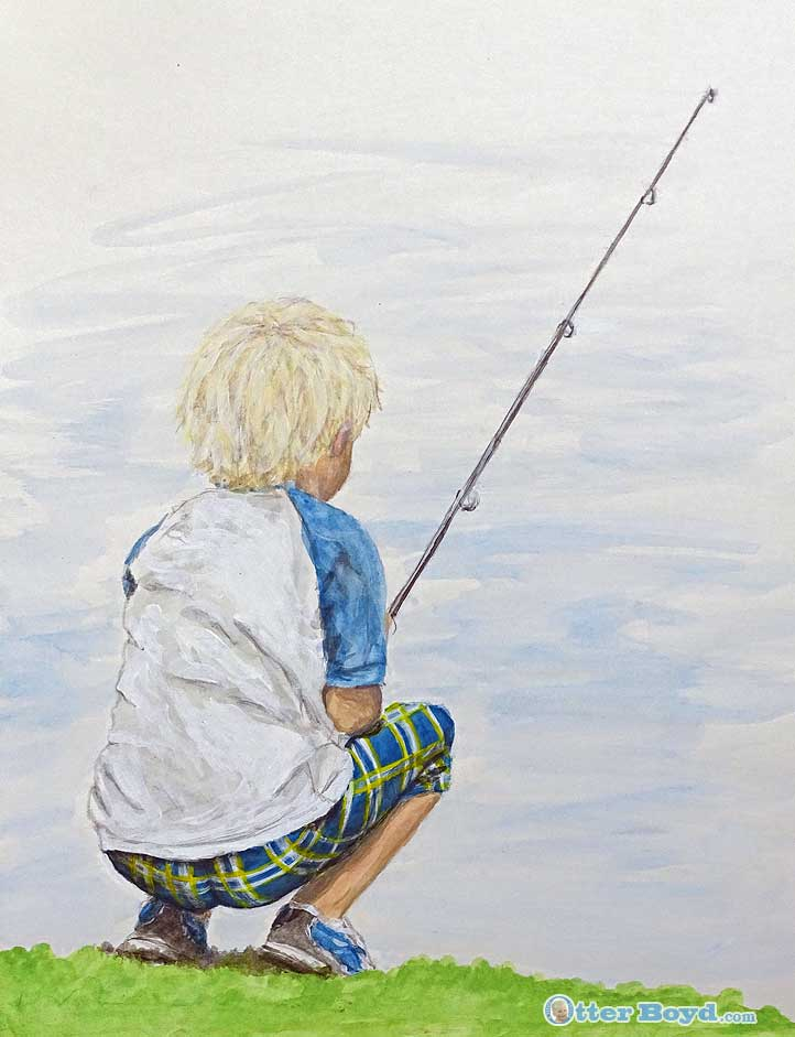 painting of a boy fishing