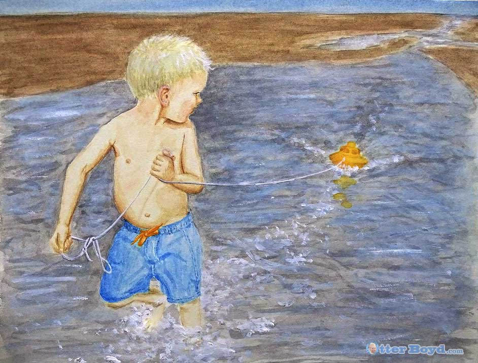 painting of a boy playing with a toy boat in the water at the beach