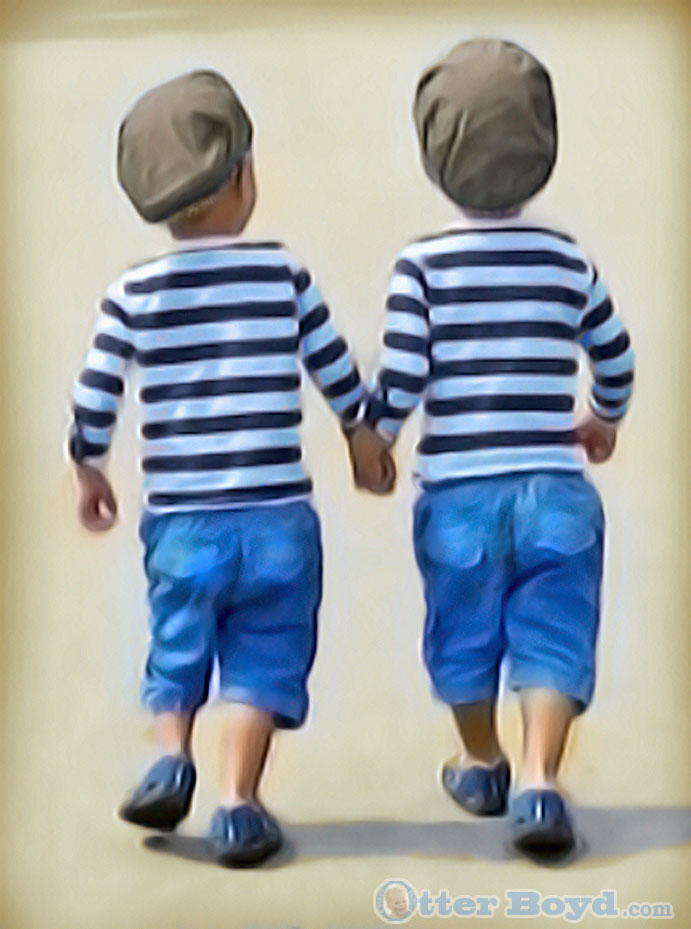 Painting of Little Twin Boys - Brothers Walking on the Beach Holding Hands