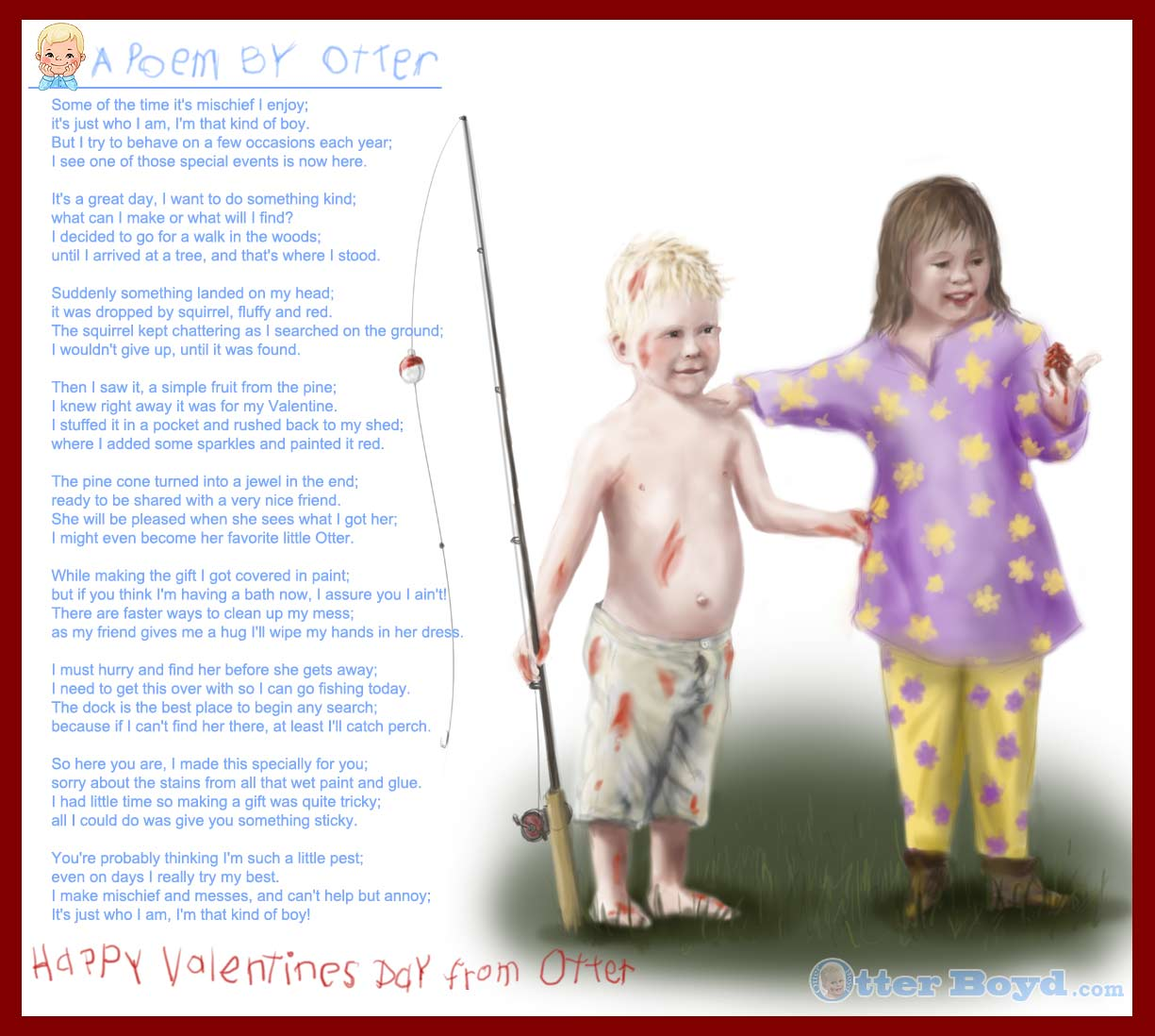 otters valentines day poem and painting of a boy with fishing rod and girl with a gift