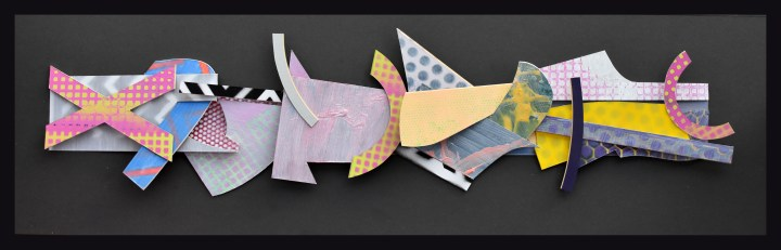 'Trail of Rejection 2' 26x87x7cm. painted surfaces , cut card