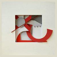 reliquary 16. 23x23x7 cm. printed surfaces, cut card.