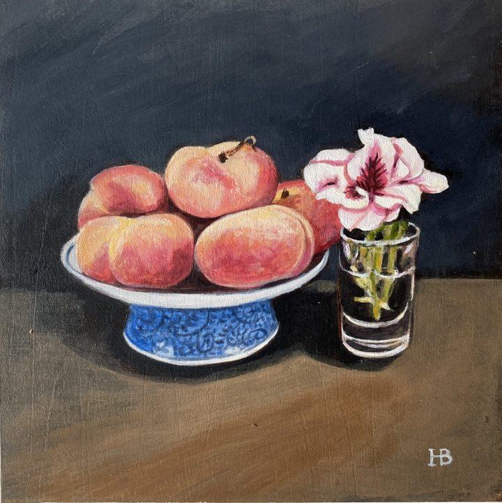 Pelargonium and peaches acrylic on panel 20cm x 20cm