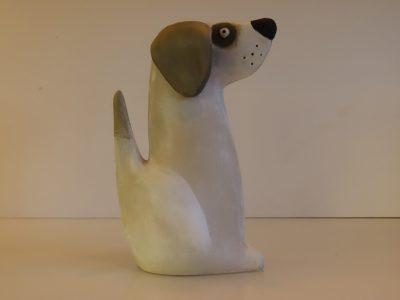 Millie the dog, stoneware sculpture
