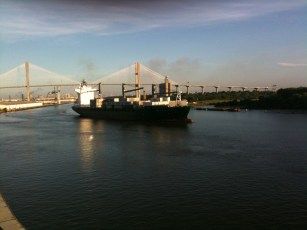 Big ship with the bridge in the background