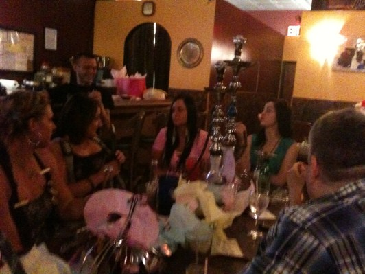 Yes, that is indeed a baby shower in a hooka bar.