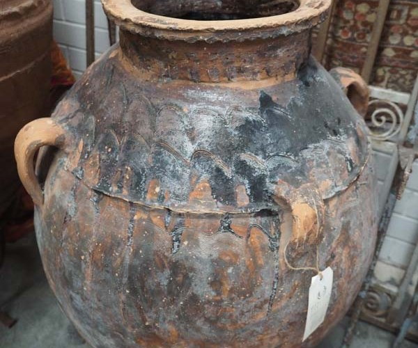 Ottoman Period Syrian glazed & decorated Terracotta pot