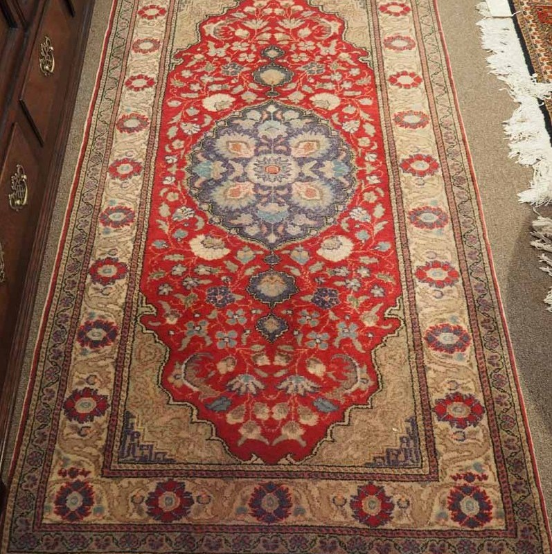 Hand Made Double Knotted Turkish Wool Carpet from Kayseri, Bunyan Approximately 70 years old