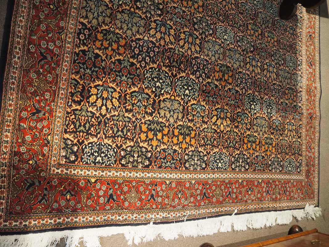 Fine Quality Hand made Double Knotted Turkish wool carpet from Hereke, Approximately 50 years old. One thousand & one flowers design