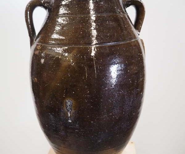 Ottoman Period Green glazed Terracotta Pot, 19th Century Syrian