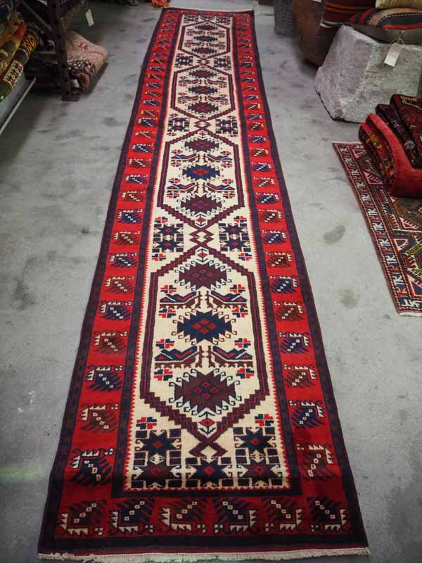 Double knotted Turkish wool runner from Bergama. Approximatley 80 years old