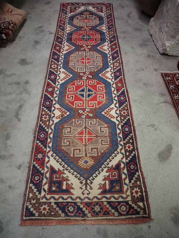 Turkish Wool on wool double knotted runner from Antalya (dosemalte)