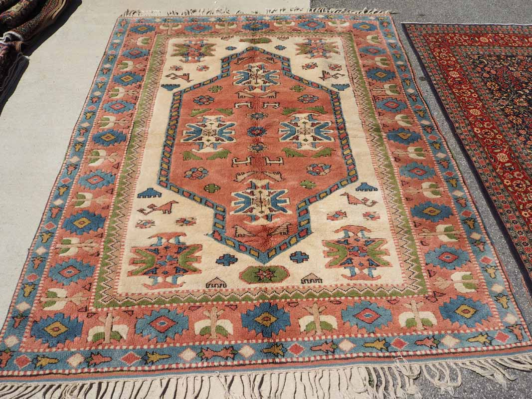 wool on wool Turkish carpet from Kars Eastern Turkey. Approximatley 40 years old
