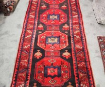 Wool on cotton hand made knotted runner. North West Persian Avshar. Approximately 60 years old