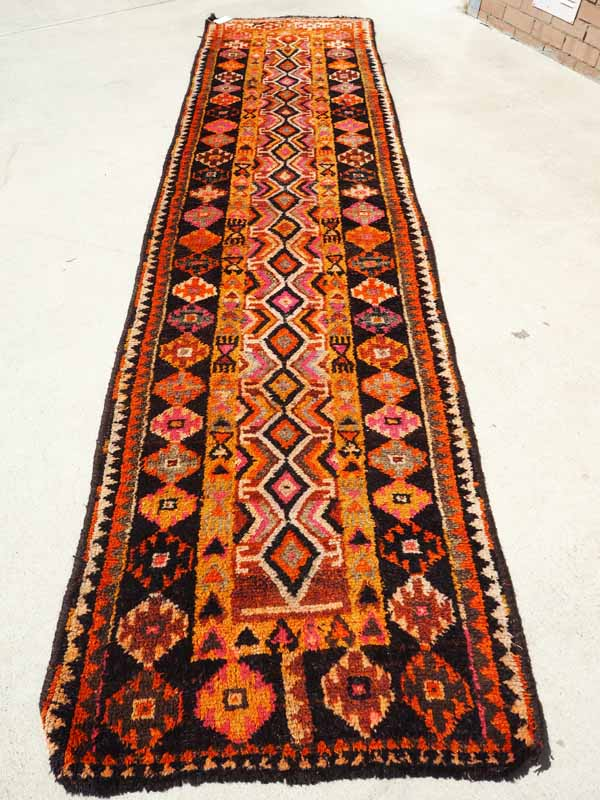 Antique Wool on Goat Iraqi Kurdish Hand knotted Heriki Runner. Approximately 80 - 100 years old
