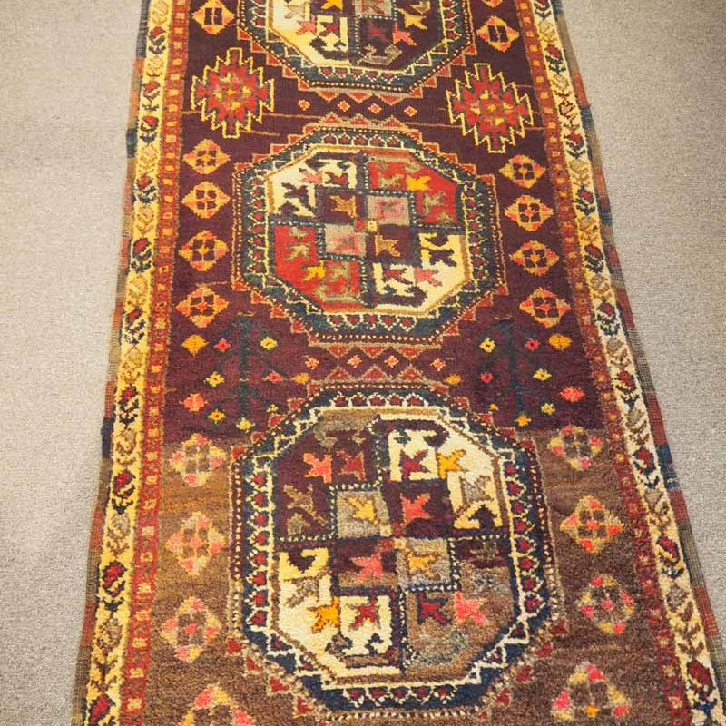 Antique Wool on wool hand knotted Iraqi Kurdish Herki Runner. Approximately 100 years old. A Fine and rare example