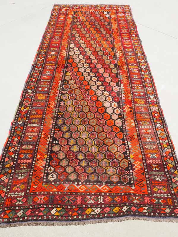 Wool on wool Hand knotted Azeri Kurdish Long rug. A great example of Tribal Weaving. Approximatley 150 - 170 years old