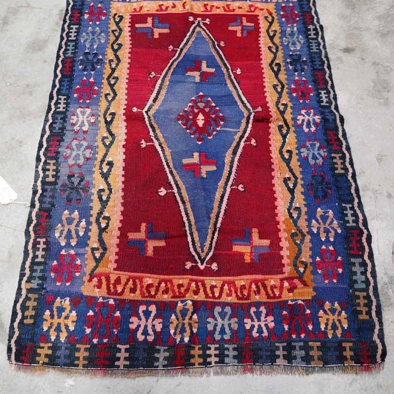 Antique Wool on wool hand knotted Yahyali Kilim. Approximately 100 years old