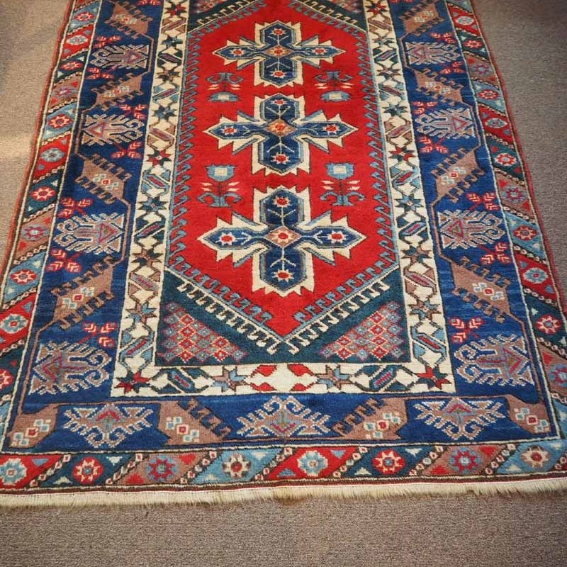 Wool on wool hand knotted Turkish carpet Dosemalte near Antalya. Approximately 40 years old