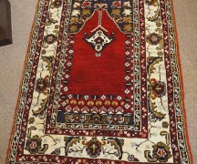 Hand Knotted Wool on Wool Turkish prayer rug, from NIGDE in Anatolia, Approximately 60 years old