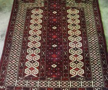Wool on wool Hand knotted Turkoman prayer rug
