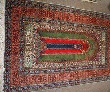 Finely knotted wool on cotton prayer rug from Kayseri, approximately 60 years old