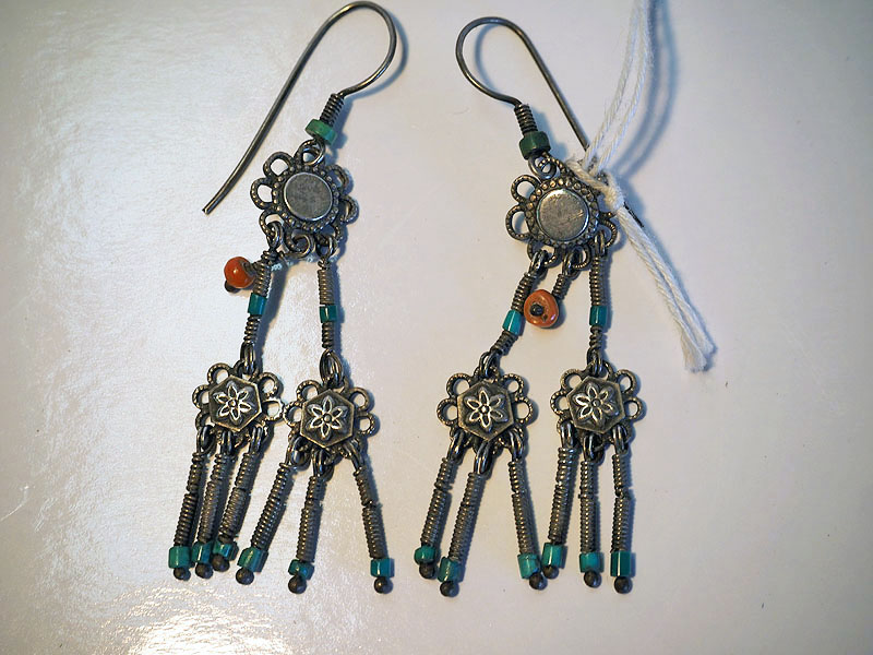Turkoman Silver, Coral & Turquoise Earrings